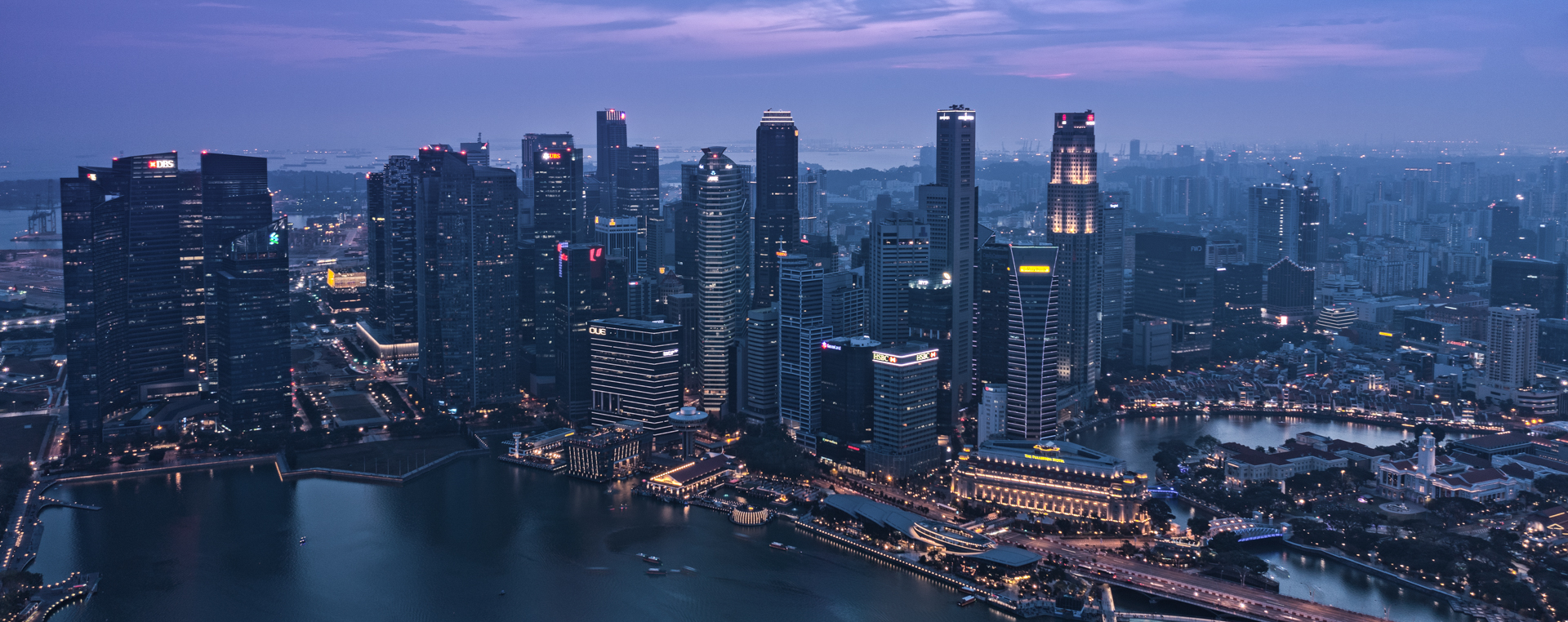 The Awakening in Singapore Downtown, Marina Bay, Clarke Quay, Boat Quay – Twilight