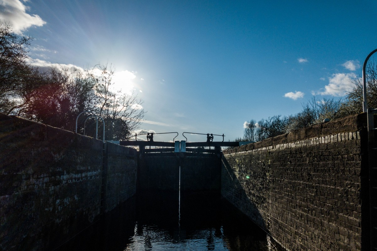 Locks, trees,sunset and canals