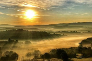 One click from my drone in the Tuscan mist seen from my drone