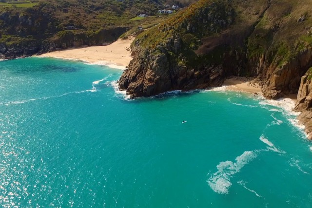 Cornwall's Minack Theatre and Porthcurno beach by Drone
