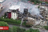 Drone shows collapsed hotel fire damage near Bristol – BBC News