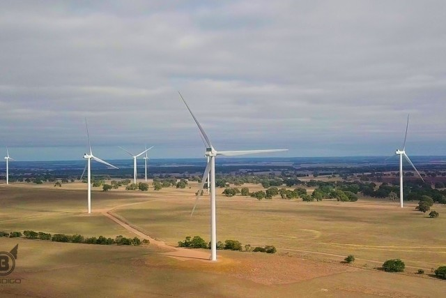 Wind Farm, Wind Turbine – Aerial View from Hexam, Victoria